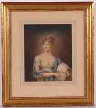 """John HOPPNER (Attrib.) - Drawing-Watercolor - """"Portrait of a Young Lady"""", 18th/19th Century"""