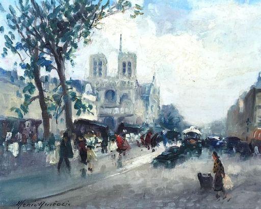 Merio AMEGLIO - Painting - Les quais de Seine et Notre Dame de Paris