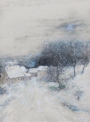 Bernard GANTNER - Dibujo Acuarela -  Les toits enneigés