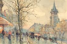 Eugène GALIEN-LALOUE - Dessin-Aquarelle - Boulevard St. Germain, Paris, France