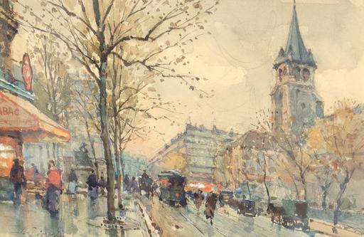 Eugène GALIEN-LALOUE - Disegno Acquarello - Boulevard St. Germain, Paris, France