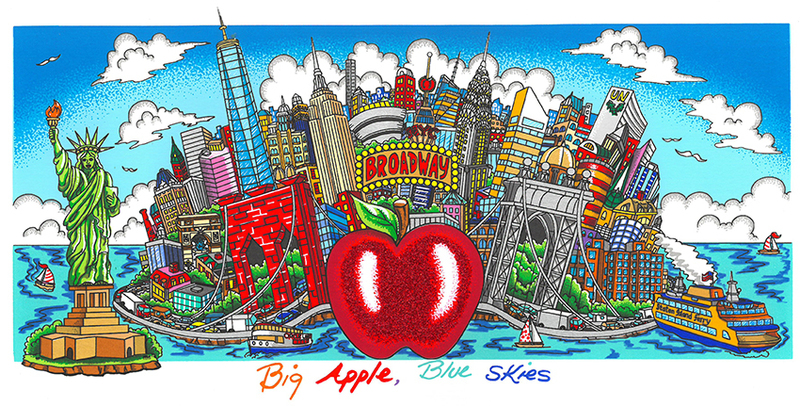 Charles FAZZINO - Print-Multiple - Big apple Blue skies