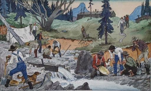 "Lev Michailovitsch KHAILOV - Disegno Acquarello - ""Gold Diggers"" by Lev Khailov, ca 1980"