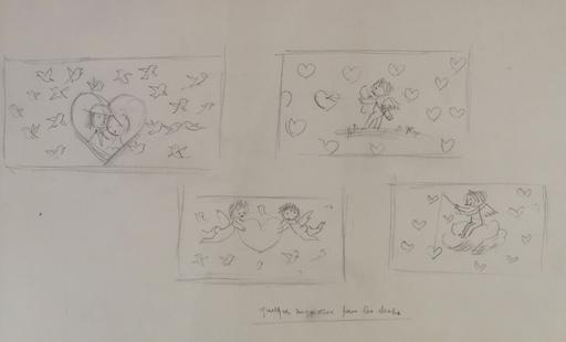 Raymond PEYNET - Dibujo Acuarela - Les Amoureux et des anges