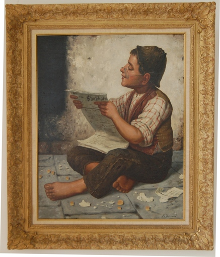 François Xavier BRICARD - Painting - A happy boy reads a newspaper