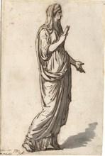 Jacques Louis DAVID - Dessin-Aquarelle - Femme drapée
