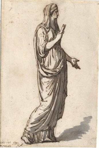 Jacques Louis DAVID - Drawing-Watercolor - Femme drapée