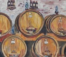 Anne DE LARMINAT - Painting - Les fûts de la cantina Contucci