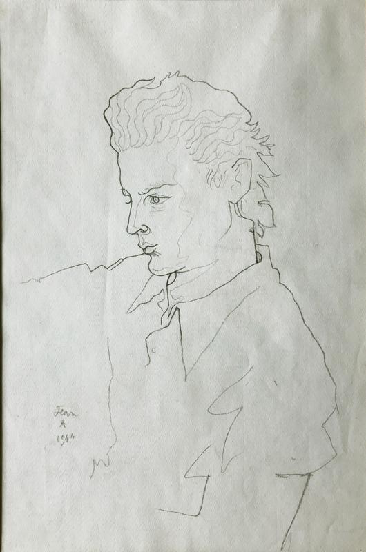 Jean COCTEAU - Dibujo Acuarela - Portrait de Georges Marchal