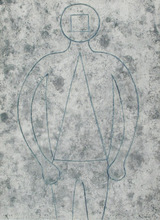 鲁菲诺•塔马约 - 版画 - Figure of Man in Blue with Gray Background