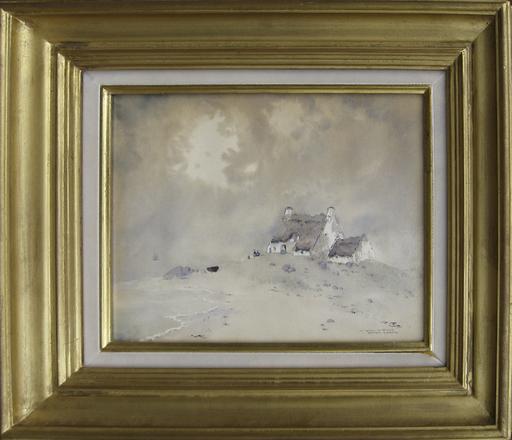 Ernest Pierre GUÉRIN - Dibujo Acuarela - La maison du pêcheur, Bretagne
