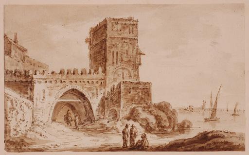 Lancelot Théodore TURPIN DE CRISSÉ - Dibujo Acuarela - Mediterranean Motive, 19th Century