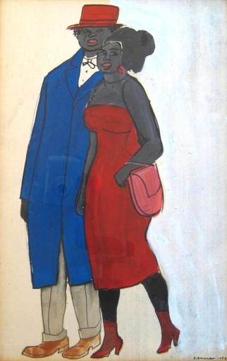 David SCHNEUER - Dibujo Acuarela - Couple