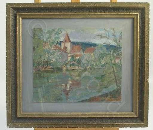 Heinz BALMER - Peinture - Zihl mit Schloss Nidau
