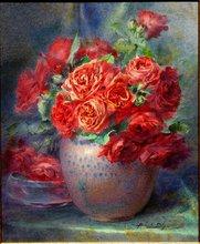 """Blanche ODIN - Drawing-Watercolor - TRES GRANDE AQUARELLE """" LE BOUQUET DE ROSES"""""""