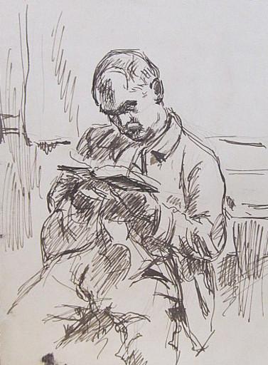 Erich HARTMANN - Disegno Acquarello - #19875: Lesender Mann.