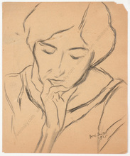 "Boris DEUTSCH - Dibujo Acuarela - ""Female portrait"", drawing"