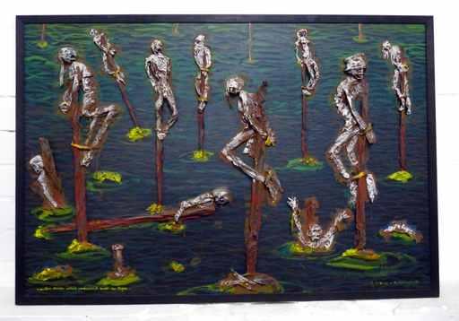 Blalla W. HALLMANN - Gemälde - Draußen stehen welche verdammt sauer im Regen