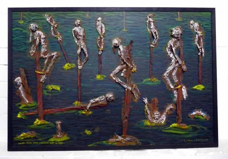 Blalla W. HALLMANN - Peinture - Draußen stehen welche verdammt sauer im Regen