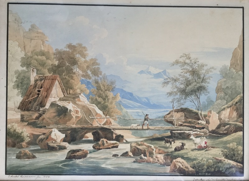 Franz II KNEBEL - Dibujo Acuarela - Sassenage près Grenoble
