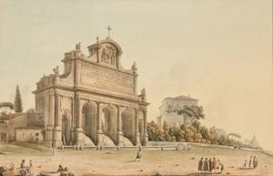 Victor Jean NICOLLE - Drawing-Watercolor - La Fontana dell'acqua Paola sur le mont Janicule, Rome