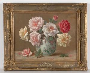 "Frans KOPS - Gemälde - ""Roses"", early 20th c., oil on canvas"