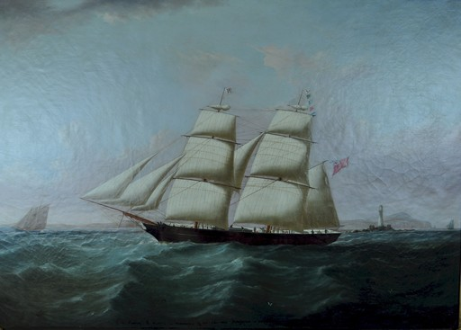 Joseph HEARD - Painting - The brig 'Pedlar' passing the skerries in-bound for Liverpoo