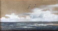Alfred August Felix BACHMANN - Dessin-Aquarelle - Kleine Meereslandschaft