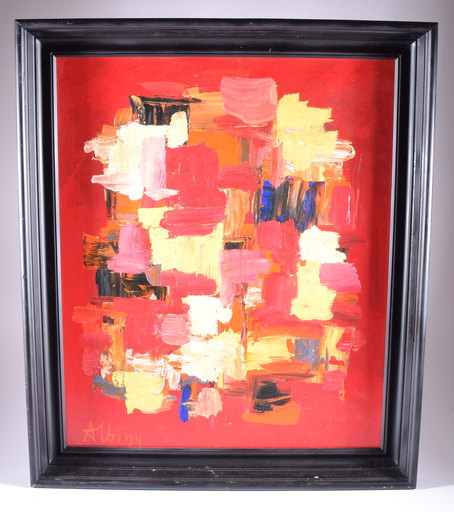 Olga ALBIZU - Pintura - Stripes on red