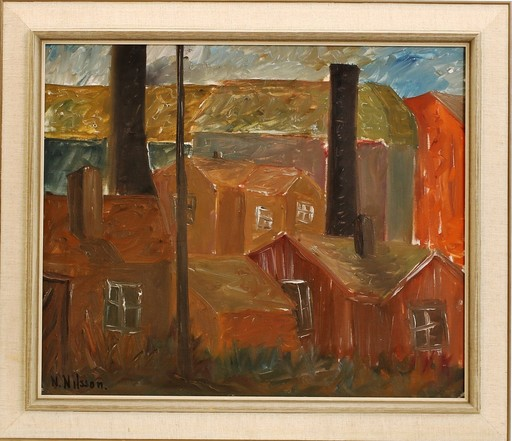 Nils NILSSON - Painting - c.1935 The houses near the factory