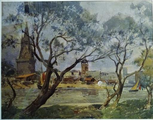 Paul Emile LECOMTE - Disegno Acquarello - L'avant port de La Rochelle