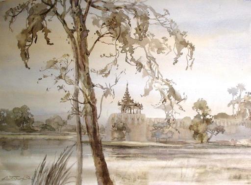U LU TIN - Drawing-Watercolor - Mandalay Palace moat