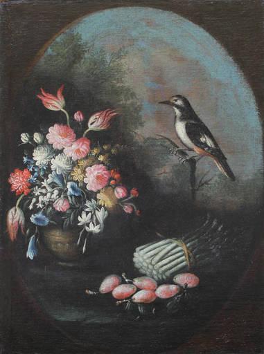 Giuseppe PESCI - Painting - Vaso di fiori con verdura e uccellino