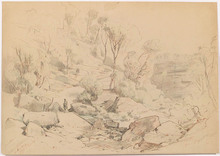 "Anton HLAVACEK - Dibujo Acuarela - ""By Lake"", 1858"