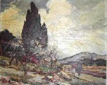 Gustave VIDAL - Gemälde - Amendiers en fleurs à Vallauris