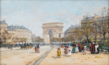 Eugène GALIEN-LALOUE - Drawing-Watercolor - Summer Afternoon on Avenue Foch