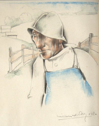 Willem VAN DEN BERG - Drawing-Watercolor - A farmer in the hills