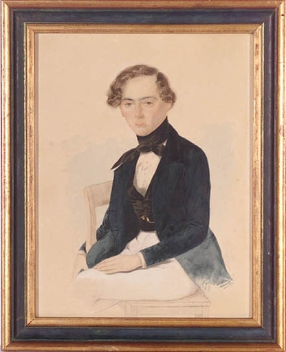 "Johann HORRAK - Zeichnung Aquarell - ""Portrait of a Young Man"" by Johann Horrak"