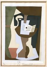 巴勃罗•毕加索 - 版画 -  Guitare et partition sur un guéridon