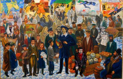 Victor BRINDATCH - Peinture -  Marc Chagall at the market in Vitebsk.jpg