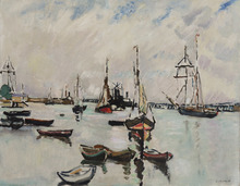Louis VALTAT - Pittura - Le port d'Ouistreham