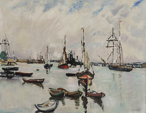 Louis VALTAT - Peinture - Le port d'Ouistreham