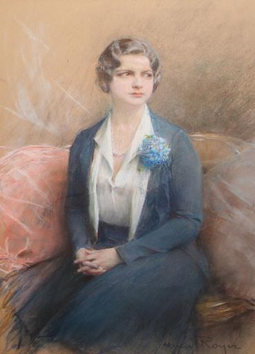 Henri-Paul ROYER - Dibujo Acuarela - Portrait de femme