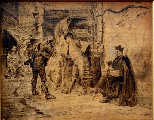Jean Georges VIBERT - Peinture - EN ATTENDANT LA DILIGENCE, ESPAGNE