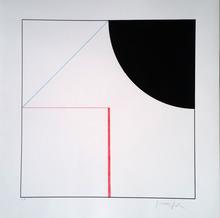 Gottfried HONEGGER - Grabado - Composition Cercle et Carré (noir, rouge)