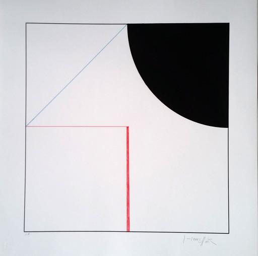 Gottfried HONEGGER - Print-Multiple - Composition Cercle et Carré (noir, rouge)