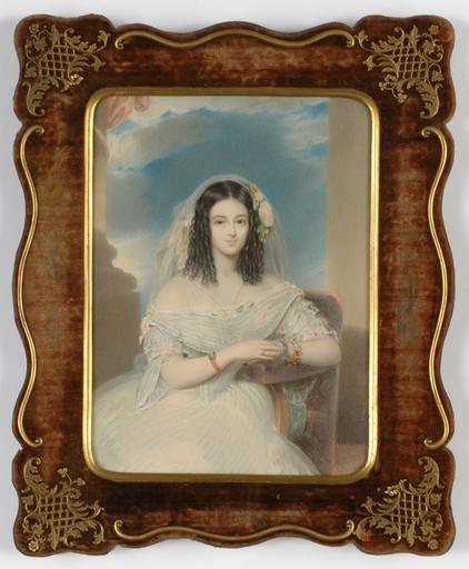 "Emanuel Thomas PETER - Disegno Acquarello - ""Portrait of a young Lady"" watercolor, 1840s"