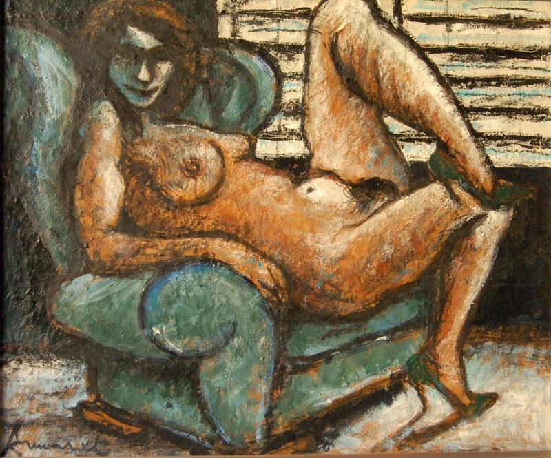 François ARMANET - Painting - Nu au fauteuil