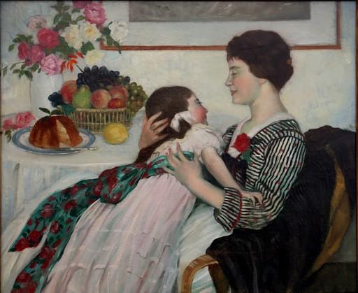 """Henry CARO-DELVAILLE - Painting - """"FILLETTE ET SA MAMAN AU SALON"""""""