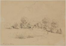 "Franz II STEINFELD - Dibujo Acuarela - Franz Steinfeld (1787-1868) ""Viktring in Carinthia/Austria"""